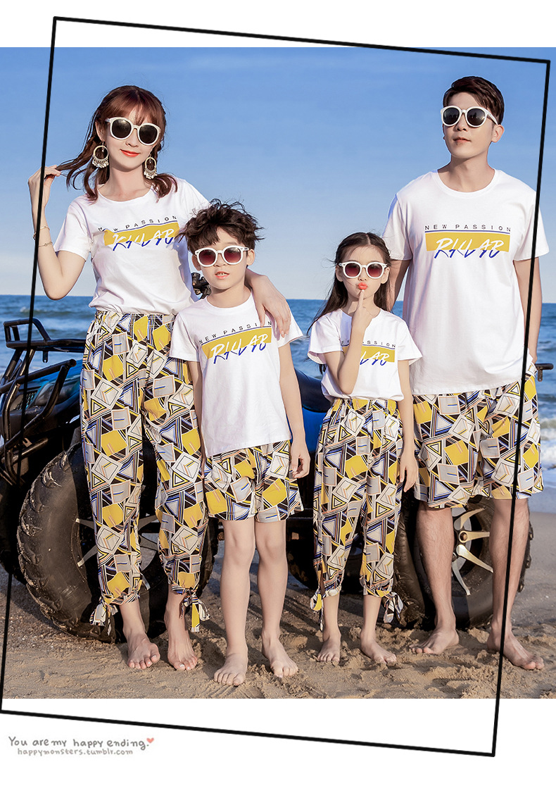 Combinando roupas de família verão férias à