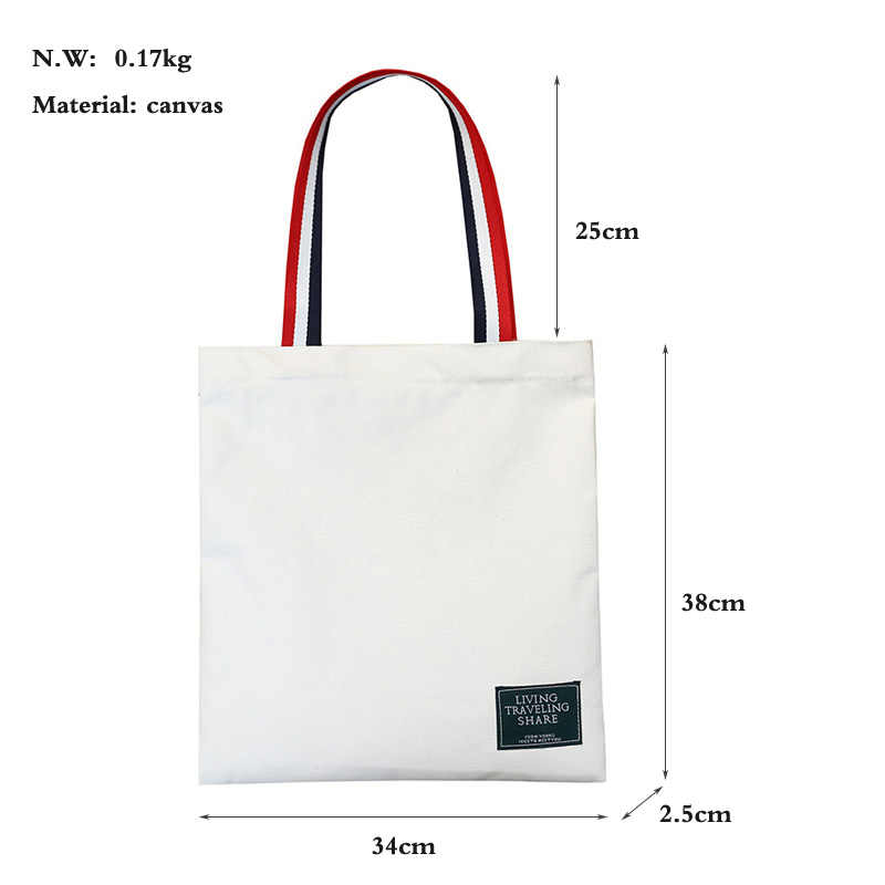Bolsos de mano de tela de lona de algodón de compras de viaje de mujer Eco reutilizable bolsos de hombro bolsas de asas para mujeres 2019 sac