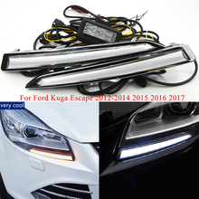2Pcs/set Daytime Running Lights For Ford Kuga Escape 2012-2014 2015 2016 2017 100% Waterproof LED DRL With Turning Signal Lamps