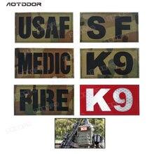 Patch infrarouge Multicam réfléchissant K9 K-9 MEDIC USAF force spéciale CP crochet tactique boucle Patch insigne de feu