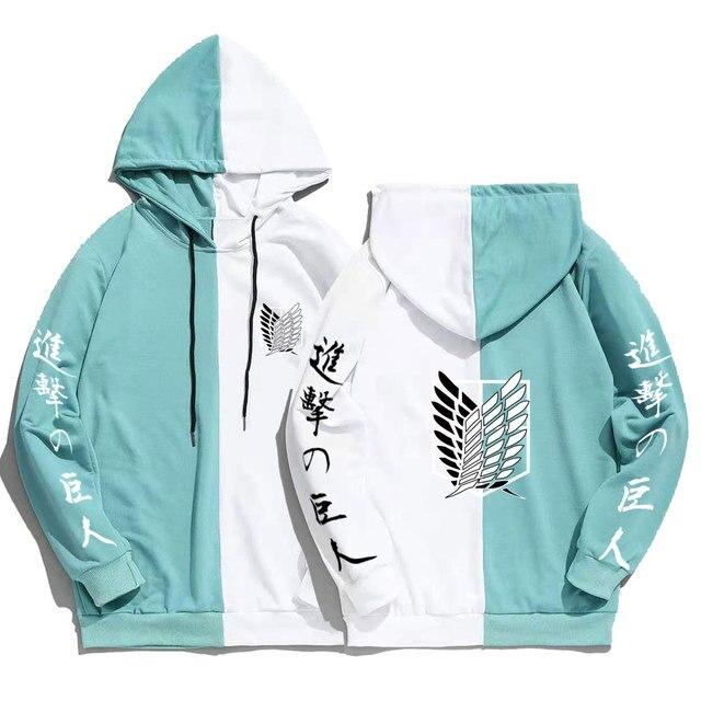Japan Anime Attack on Titan Print Men Hoodies Sweatshirts Hoodie Patchwork Thin Clothing Hip Hop Streetwear Tops 4