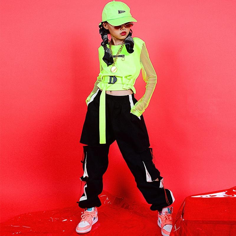 Girls Hip Hop Dance Costumes Kids Jazz Street Dancing Clothes Modern Stage Outfits Children Cheerleader Performance Wear DN4622