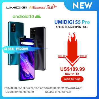 In Stock UMIDIGI S5 Pro Helio G90T Gaming Processor 6GB 256GB Smartphone FHD+ AMOLED In-screen Fingerprint Pop-up Selfie Camera
