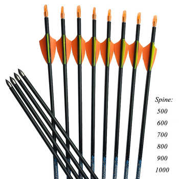 12pcs Archery Spine 800 30\'\' Pure Carbon Arrows 1.75\'\' Plastic Vanes 80gr Tips Arrow Pin Nock Recurve Bow Shooting Hunting