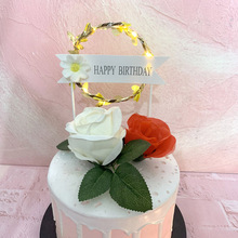 1 Pcs Happy Birthday LED  Flower Wreath Cake Topper Decor for Party Cupcake Flag Decoration