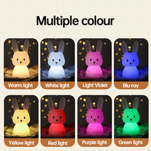 Led Children Night Light For Kids Colorful Cartoon Rabbit Shape Lamp Baby Nursery Light Usb Rechargeable Night Lamps Room Decor