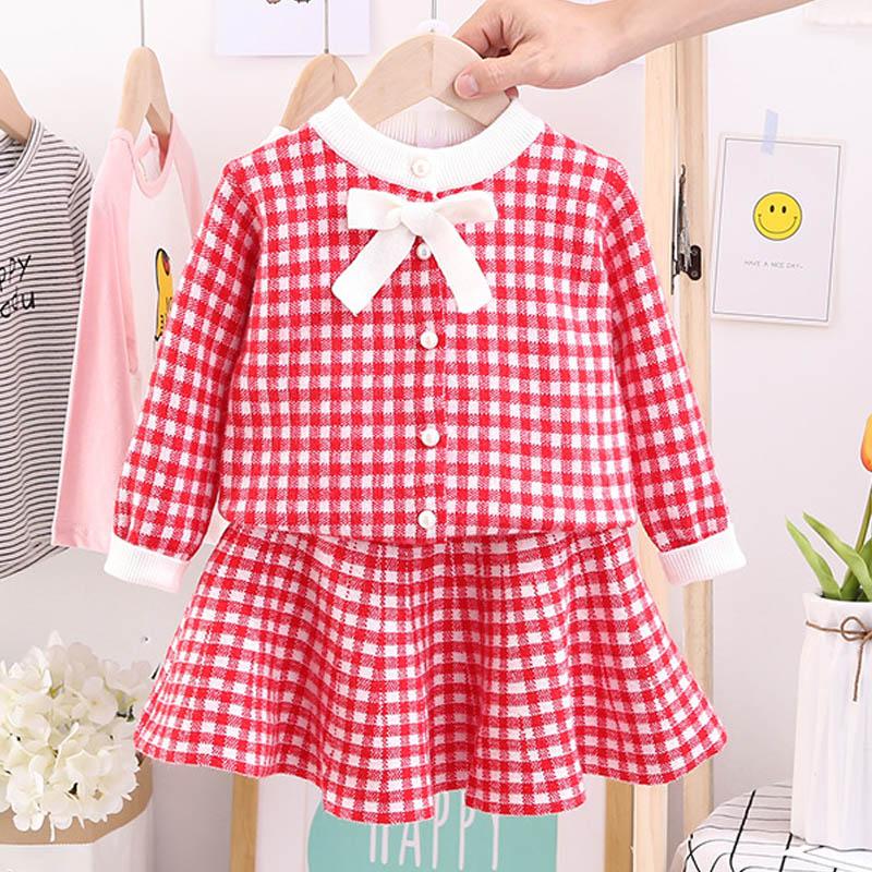 Autumn Winter Plaid print Sweater Dress Set Casual Girls Clothing Sets Girls Clothes Suit Children Clothes Kids Clothing Sets 15