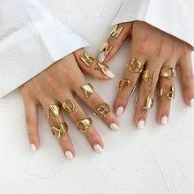 Bague dorée pour femmes, nouveau Style de mode, lettre ajustable, ouverture, bijoux féminins, 2020, A-Z
