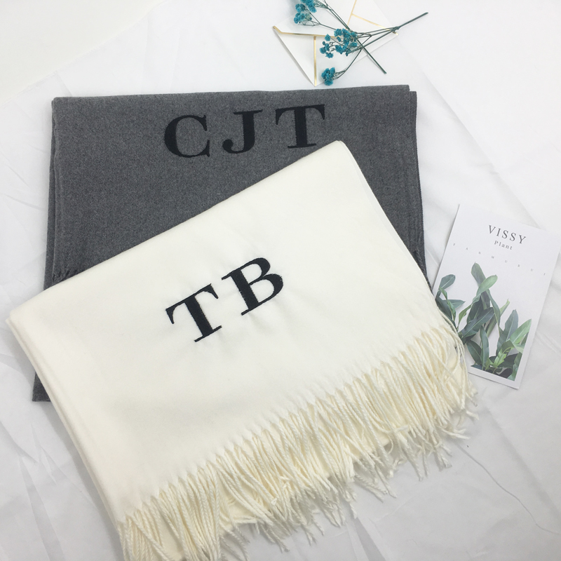 TEH 28 Color Personalized Solid Tassel For Women Scarf Embroidery Custom Cashmere Winter Lady Girls Shawl Scarf Statement Gift