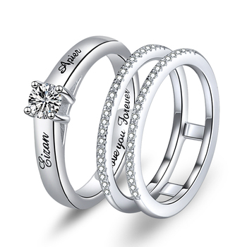 Xiaojing 925 Sterling Silver Custom Birthstone Engraved Name Rings Unique Design Finger Ring for Women Personalized Jewelry 2019 ailin 925 silver personalized birthstone ring for women arabic custom engraved name ring wedding couple unique christmas jewelry