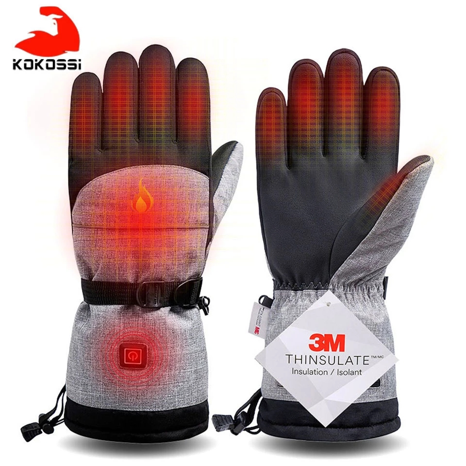 KoKossi Electric Heating Snowmobile Snowboard Ski Gloves Snow Mittens Windproof Waterproof Men Women Snowboarding Skiing Gloves