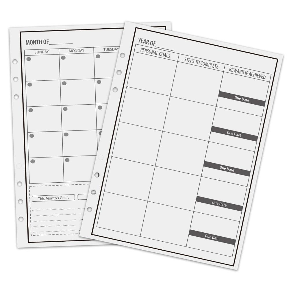 NEWYES A5 Reusable Erasable Loose Leaf Notebook Refill Spiral Binder Index Inner Page 6Holes Monthly Weekly Daily Planner Agenda