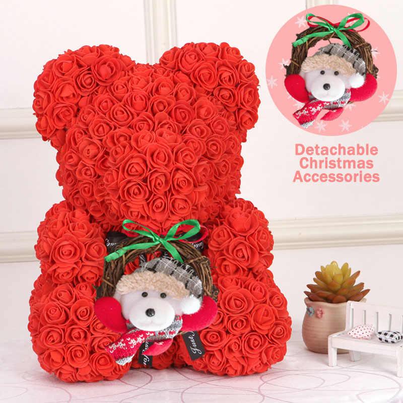 Prezent na boże narodzenie 40cm czerwony miś róża sztuczne mydło róże miś miś róża wieczna kwiat Valentine Garland prezent dziewczyna przyjaciel miłość