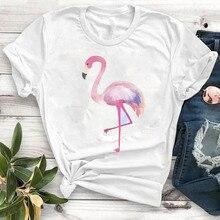Women Lady T Shirt Flamingo Printed Tshirt Ladies
