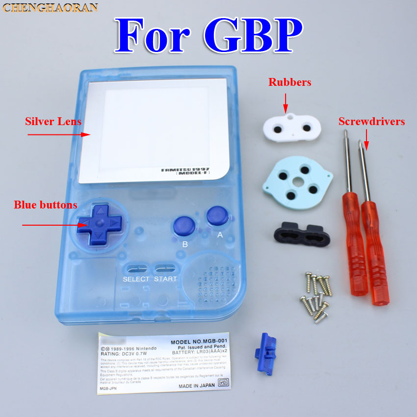 1set Luminous blue Full Housing Shell case cover For Gameboy Pocket Game Console Screwdriver Rubber Silver lens Blue Button Kit
