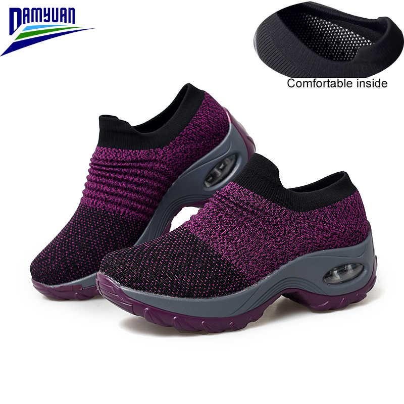 Damyuan nefes ayakkabı kadın 2020 ilkbahar yeni stil Zapatos De Mujer kadın file sutyen loafer'lar rahat ışık spor ayakkabı