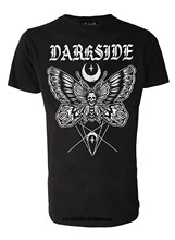 funny t shirts Mens Death Moth Tattoo Genuine Darkside T Shirt Cotton Slim Black Tshirts for Man Fashion Tops Tee Male(China)
