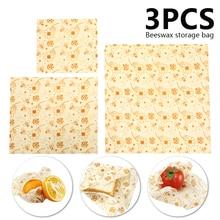 3pcs Reusable Beeswax Wraps Food Grade Organic Cotton Mesh Storage Bag Eco Friendly Fresh Keeping Sets for Home Use