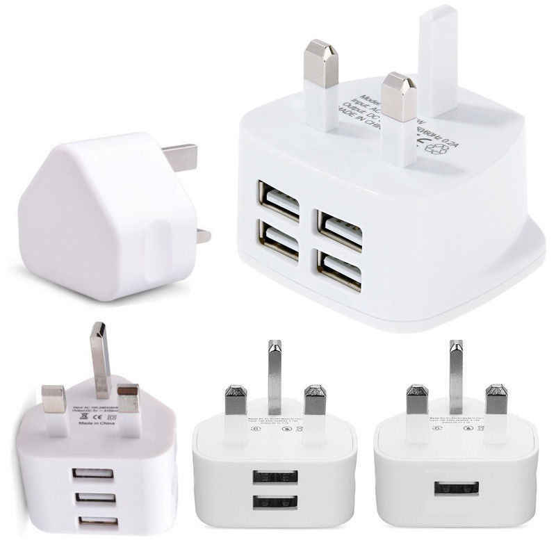 Uk Plug Enkele Usb Dubbele Usb 3USB Adapter Mains 3 Pin Plug Usb Adapter Wall Charger Travel Oplaadkabel 5V2 1A Voor Apple