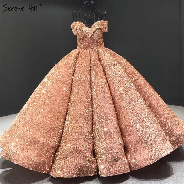 Dubaj Sweetheart Sexy zielone luksusowe suknie ślubne 2020 cekinami Off ramię suknie ślubne Serene Hill HM66991 Custom Made