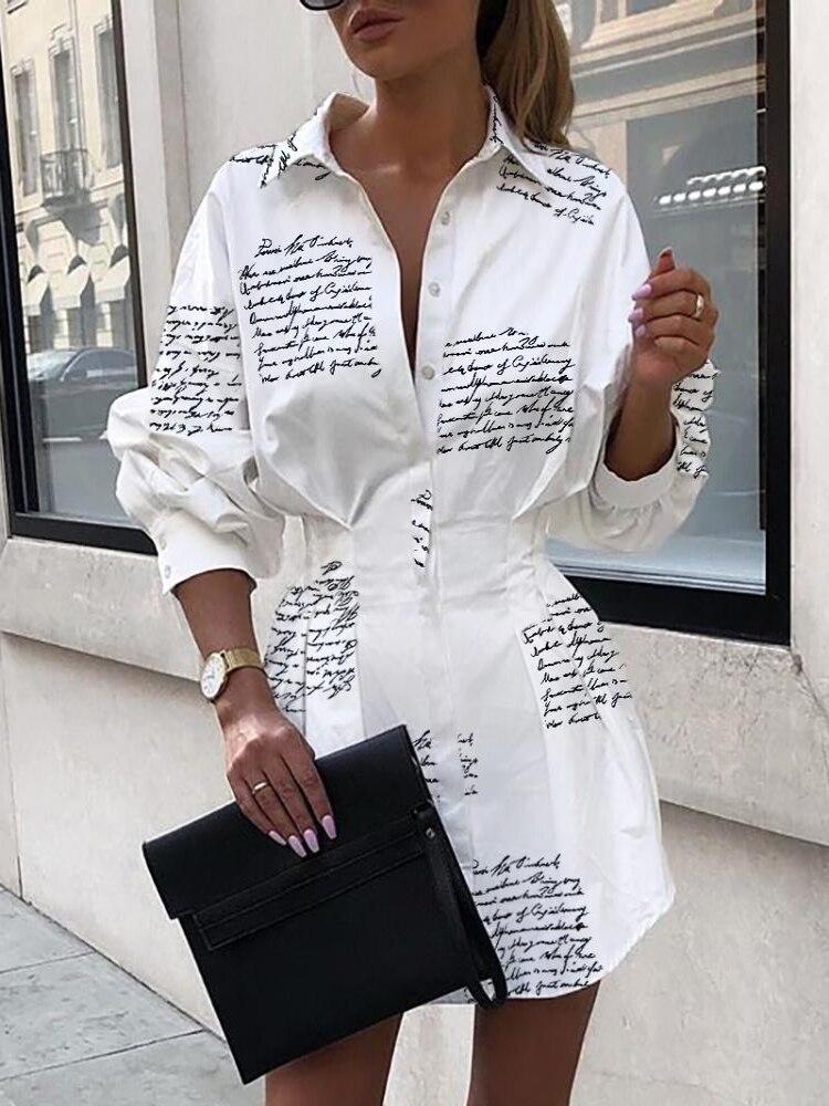 Купить платье рубашка с узкой талией и буквенным принтом платье сексуальное