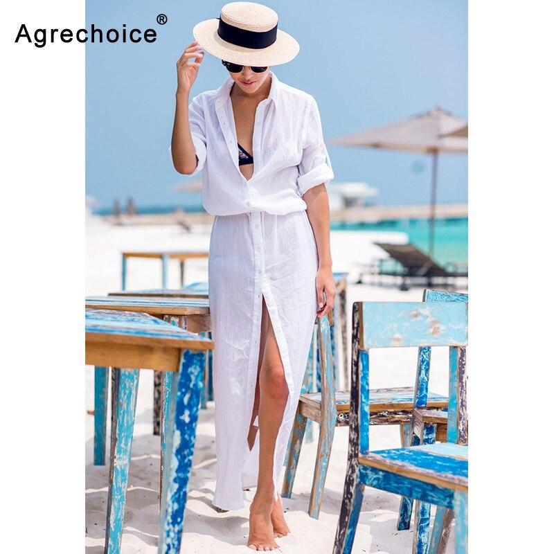 2019 Sexy Chiffon Beach Cover Up Bikini Swimwear Women Cover Up Beach Dress Shirt Long Tunics Bathing Suits Cover-Ups Beachwear 1