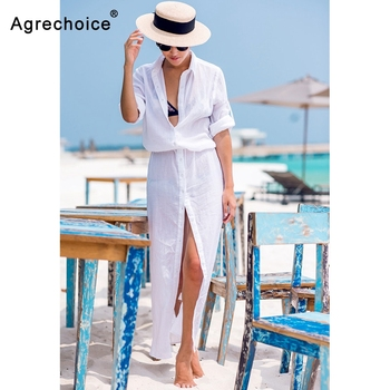 2019 Sexy Chiffon Beach Cover Up Bikini Swimwear Women Cover Up Beach Dress Shirt Long Tunics Bathing Suits Cover-Ups Beachwear 1