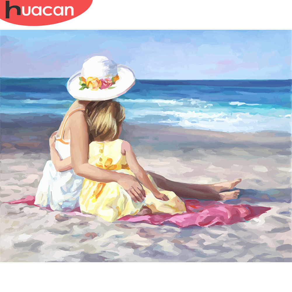 HUACAN DIY Oil Painting By Numbers Girl Paint Canvas Picture Hand Painted Pictures Beach Scenery Modern Home Decor Gift