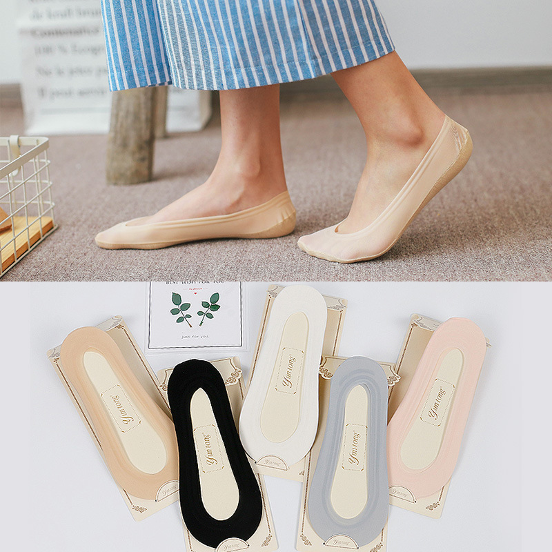 Woman Summer Ultra-thin Boat Socks Antiskid Invisible Liner No Show Surface Silk Bottom Cotton Sexy Girls Women Short Socks
