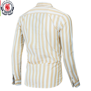 Image 2 - Fredd Marshall 2019 Herfst Nieuwe Mannen Gestreept Overhemd Casual Soical Lange Mouwen 100% Katoenen Shirts Camisa Masculina Homme Tops 221