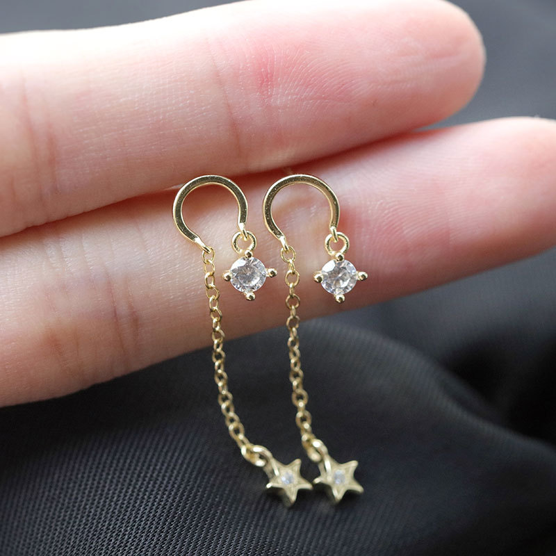 925 Sterling Silver Star Round Zircon Stud Earrings Elegant Luxury Palace Women's Earrings Silver 925 Jewelry Charm Girls Gifts