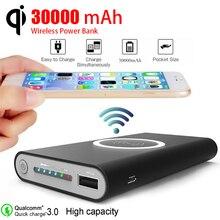 30000mAh Qi 무선 전원 은행 충전기 대용량 모바일 전원 은행 빠른 충전 이중 USB 외부 배터리 PowerBank