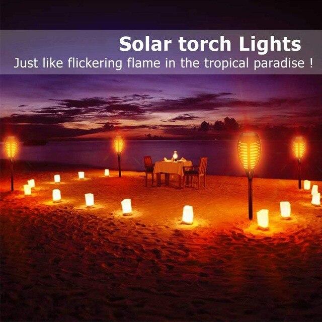 Dropshipping güneş ışığı bahçe ledi meşale ışık alev lambaları dans alev açık su geçirmez bahçe Torch lambası avlu balkon