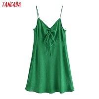 Tangada Women Green Pleated Sexy Satin Short Dress Strap Sleeveless 2021 Summer Fashion Lady Dresses Vestido 3H320 1