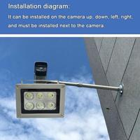 Lámpara iluminador infrarrojos de 30 grados, 12V, 6 uds., luz Led de relleno de visión nocturna para exteriores, impermeable, para CCTV I N8R2