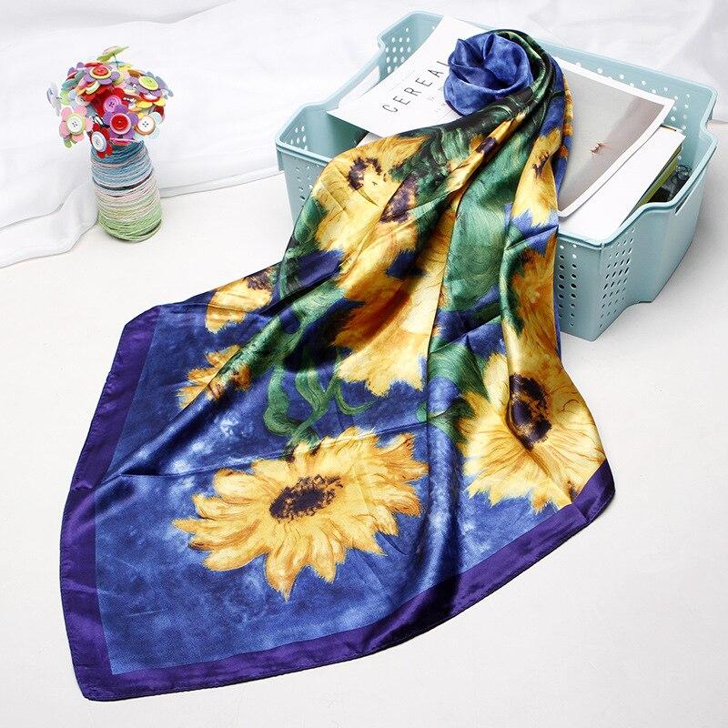 Square Scarves Women Chain Print Sunscreen Silk Scarf Female Satin Long Scarf Dual-use Shawl Beach Towel Shawl Retro Daisy