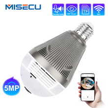 MISECU 5.0MP 3.0MP 1.3MP 360 gradi VR Audio 128GB slot Senza Fili Macchina Fotografica del IP di Lampadina Wi Fi FishEye Sicurezza Domestica WiFi di telecamere di sicurezza
