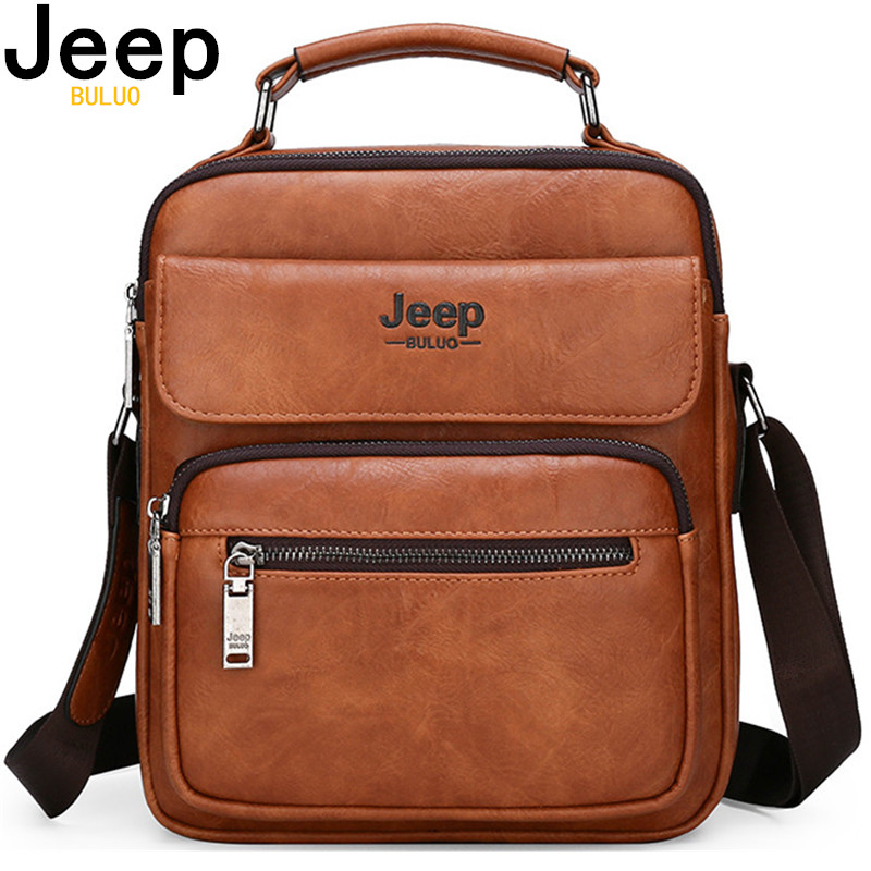 JEEP BULUO Brand Man Split Leather Crossbody Shoulder Messenger Bag For iPad Big Size Men's Handbags Famous Casual Business