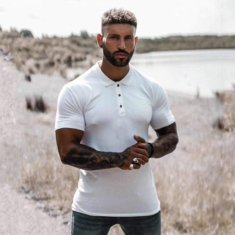 New Summer Fashion Mens Solid Short Sleeve Polo Shirts Slim Fit Turn Collar Male Gym Bodybuilding Fitness Polo Shirt Plus Size