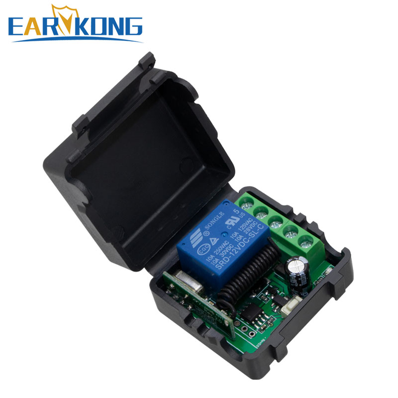 433MHz Wireless Relay DC 12V Single Channel Relay Module RF Wireless Switch Receiver + Remote Control Transmitter DIY Kit