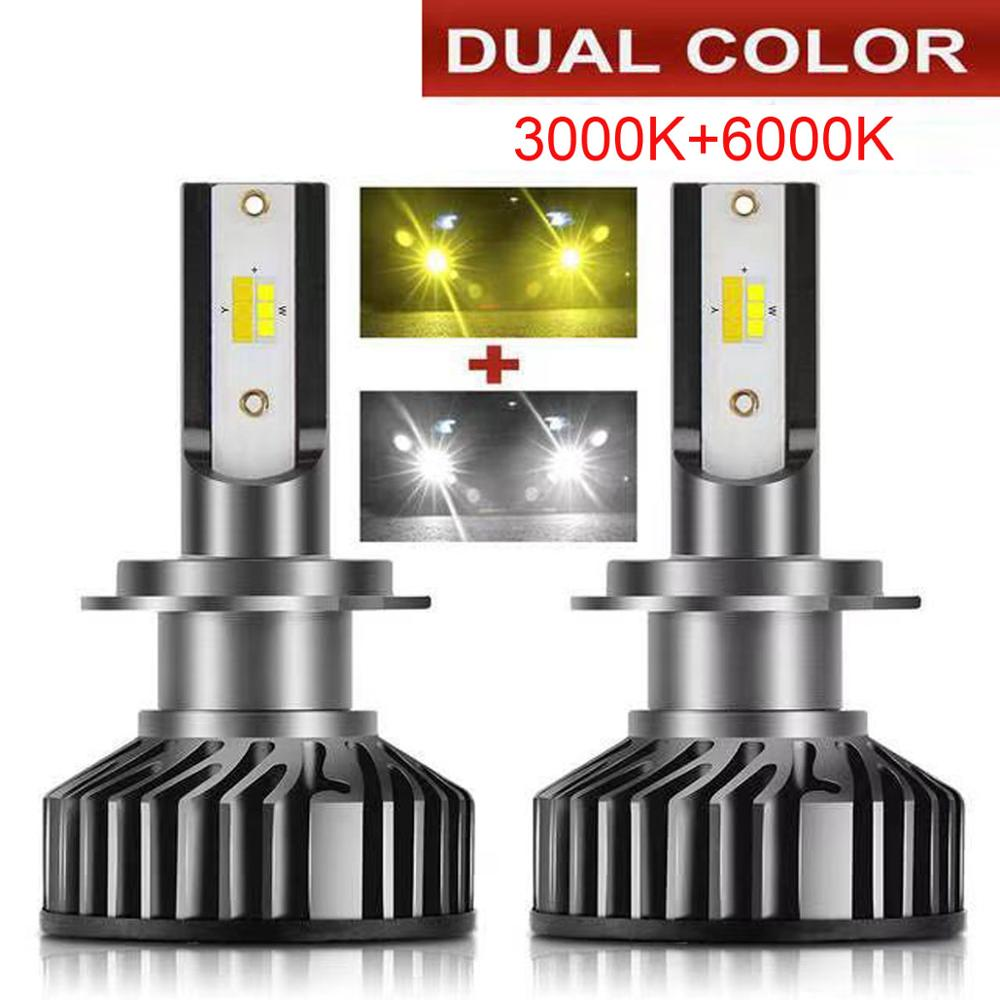2pcs Mini Canbus Dual Color  Lampada H4 H7 LED Car Headlight Fog Lamp 12V 12000LM 6000K 8000K Lamp H3 H HB4 H8 H9 H11 Light