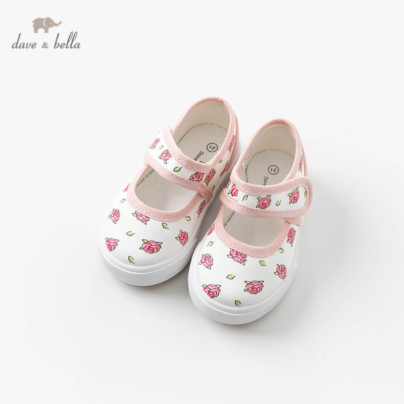 DB12845 Dave Bella Spring Baby Girl Canvas Shoes New Born Girl Casual Shoes Pink Floral Brand Shoes