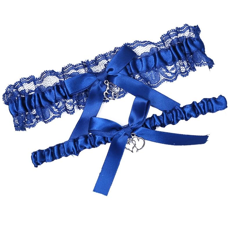 Royal Blue Wedding Garters Heart Pendant Embroidery Lace Bow Garter Sexy Garter Women/Female/Bride Thigh Ring Bridal Leg Ring
