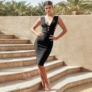 Image 2 - BEAUKEY Sommer 2020 Frauen Cut Out Sexy Verband Kleid Bodycon Tiefem v ausschnitt Rosa Kleid Bandage Abend Party Vestido Knie länge