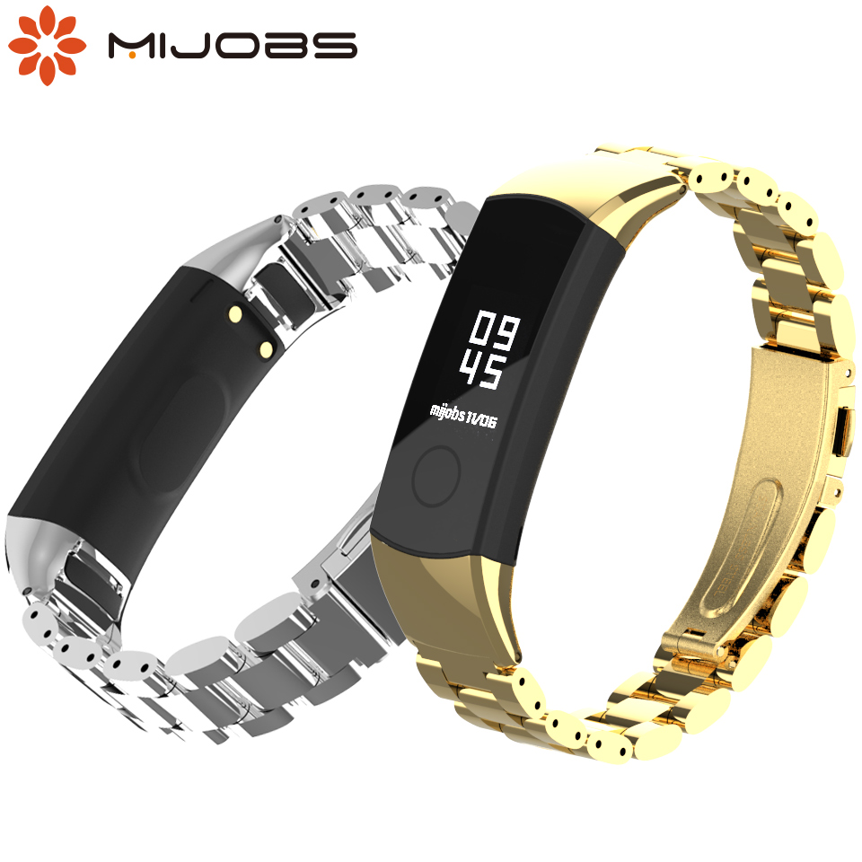 Strap For Honor Band 4/5 Metal Stainless Steel Wrist Bracelet For Huawei Honor Band 4 5 Smart Watch Milanese Leather Wristband