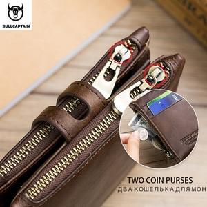 Image 4 - BULLCAPTAIN אמיתי עור RFID גברים ארנק אשראי עסקי כרטיס מחזיקי כפול רוכסן עור פרה עור ארנק ארנק Carteira 021