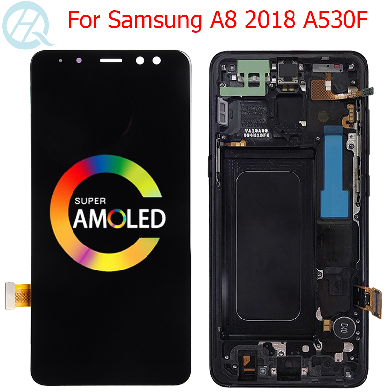 Original AMOLED A530F LCD For <font><b>Samsung</b></font> Galaxy <font><b>A8</b></font> 2018 <font><b>Display</b></font> With Frame 5.6