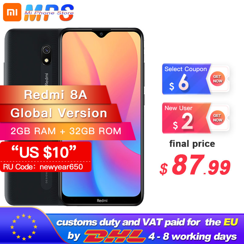 Global Version Xiaomi Redmi 8A 32GB ROM 2GB RAM 8 A 5000mAh Smartphone Snapdargon 439 Octa Core 12MP AI Camera Type-C