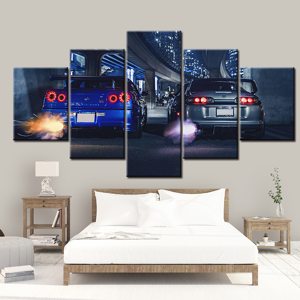 HD canvas printed painting 5 piece wall art Framework GTR R34 VS Supra Vehicle Home decor Poster Picture For Living Room NL001 image