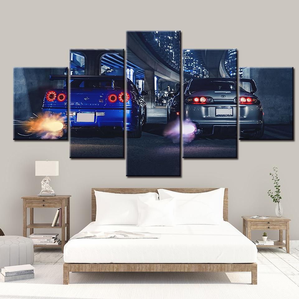 HD pintura da lona impressa 5 pedaço arte da parede Quadro GTR R34 VS Supra Veículo Home decor Poster Imagem Para Sala de estar quarto NL001